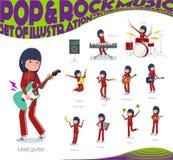 Ein Satz Frauen in der Sportkleidung, die Rock-and-Roll und Popmusik spielt Es gibt auch verschiedene Instrumente wie Ukulele und vektor abbildung