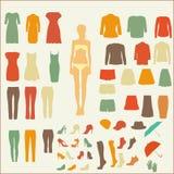 Ein Satz Frauen ` s Kleidung im Retrostil Lizenzfreie Stockbilder