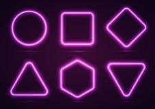 Ein Satz geometrische Neonformen Lizenzfreies Stockfoto