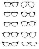 Ein Satz Gläser lokalisiert Vorbildliche Ikonen der Vektorgläser Sonnenbrille, Gläser, lokalisiert auf weißem Hintergrund Schatte stock abbildung