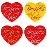 Ein Satz Herzen für Andenken auf dem Thema Belgien, Brüssel in den nationalen Farben Vektor lizenzfreie stockfotos