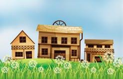 Ein Satz Holzhäuser lizenzfreie abbildung