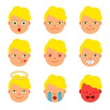 Ein Satz Ikonen für Emoticons Flache Art karikatur Vektor stock abbildung