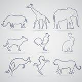 Ein Satz Konturen, Schattenbilder von Tieren Nashorn, Giraffe, e Stockfoto