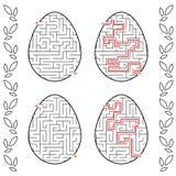 Ein Satz Labyrinthe in Form von Eiern Schwarzer Anschlag Ein Spiel für Kinder Mit der Antwort Einfaches flaches Vektorillustratio Vektor Abbildung