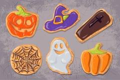 Ein Satz Lebkuchenplätzchen auf dem Thema von Halloween Stockfotografie