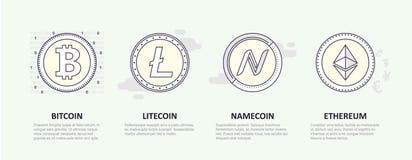 Ein Satz Logos der populären Schlüsselwährung Vektor Abbildung