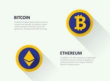 Ein Satz Logos der populären Schlüsselwährung Stockfoto