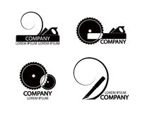 Ein Satz Logos, Embleme der Werkzeuge des Schreiners Lizenzfreie Stockbilder