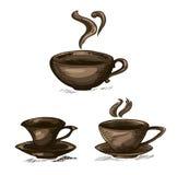 Ein Satz lokalisierte Kaffeetassen auf einem weißen Hintergrund lizenzfreie abbildung