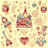 Ein Satz lokalisierte nette helle Gestaltungselemente von russischen traditionellen Symbolen stock abbildung