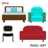 Ein Satz Möbelelemente im Stil der Pixelkunst Auch im corel abgehobenen Betrag stockfoto