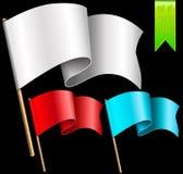 Ein Satz mehrfarbige Flaggen Stockfotografie