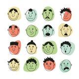 Ein Satz menschliche Gesichter mit Gefühlen Lizenzfreies Stockfoto