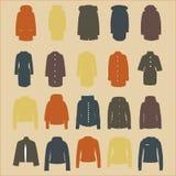 Ein Satz Modefrauen ` s Jacken und Mäntel Stockbild
