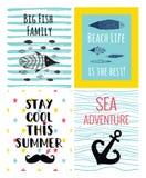 Ein Satz nette Seevektorkarten für Sommer Lizenzfreie Stockbilder