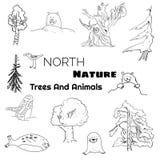 Ein Satz Nordnaturgekritzeltiere und -bäume lizenzfreie abbildung