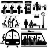Zug-Pendler-Stations-Untergrundbahn-Mann-Piktogramm Lizenzfreie Stockfotografie