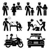 Polizeirevier-Polizist-Berichts-Piktogramm Stockfotos