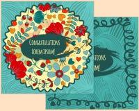 Ein Satz Postkarten mit Blume Im Kreis für Grüße Lizenzfreie Stockfotografie