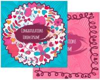 Ein Satz Postkarten mit Blume Im Kreis für Grüße Stockfotografie