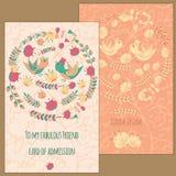 Ein Satz Postkarten mit Vogel und Blume Im Kreis für Grüße Lizenzfreie Stockbilder
