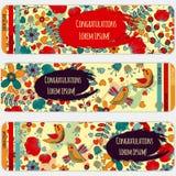 Ein Satz Postkarten mit Vogel und Blume Im Kreis für Grüße Stockfotos