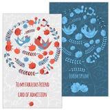 Ein Satz Postkarten mit Vogel und Blume Im Kreis für Grüße Lizenzfreies Stockbild