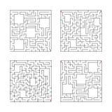 Ein Satz quadratische Labyrinthe Spiel für Kinder Puzzlespiel für Kinder Ein reißt, ein Ausgang hin Labyrinthvexierfrage Flache V stock abbildung