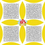 Ein Satz quadratische Labyrinthe Ein Spiel für Kinder und Erwachsene Einfache flache Vektorillustration Lizenzfreie Abbildung