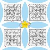 Ein Satz quadratische Labyrinthe Ein Spiel für Kinder und Erwachsene Einfache flache Vektorillustration Stock Abbildung