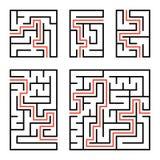 Ein Satz quadratische und rechteckige Labyrinthe mit Eingang und Ausgang Einfache flache Vektorillustration auf weißem Hintergrun Vektor Abbildung
