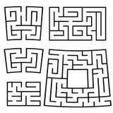Ein Satz quadratische und rechteckige Labyrinthe mit Eingang und Ausgang Einfache flache Vektorillustration lokalisiert auf weiße Stock Abbildung