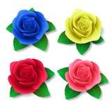 Ein Satz realistische Rosen in den verschiedenen Farben Entwerfer Evgeniy Kotelevskiy Stockbild