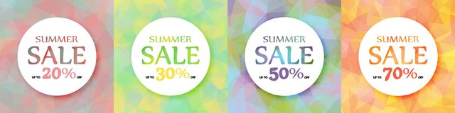 Ein Satz runde bunte Werbungsfahnen Rabatt von 20, 30, 50, 70% Sommeraktion Vektor Abbildung