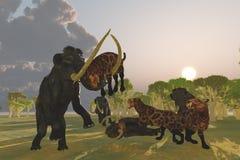 Mammut-und Säbel-Zahn-Katze Lizenzfreie Stockfotos