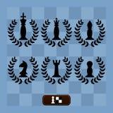Ein Satz Schachfiguren auf einem Schachbrett stock abbildung