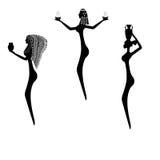 Ein Satz Schattenbilder von Frauen der alten Stämme von Afrika Stockbild
