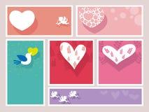 Ein Satz sortierte Valentine's-Tagesrahmen/Karten, Illustration Stockfotografie