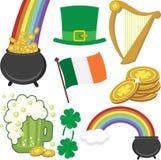 Ein Satz St- Patrick` s Tagesikonen stockfotografie