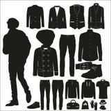 Ein Satz stilvolle Kleidung für junge Männer Stockbild