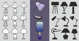 Ein Satz Tischlampeikonen Stilisierte Lampenikonen und verfolgt lizenzfreie abbildung