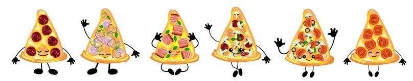 Ein Satz unterschiedliche Vielzahl der italienischen Pizza ist ein netter Charakter mit einem Gesicht Für Ihre Firma Pizzeria, Re vektor abbildung