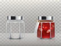 Ein Satz Vektorillustrationen des Glases stellte dar, dass Gläser und mit einer Erdbeermarmelade leer ist lizenzfreie abbildung