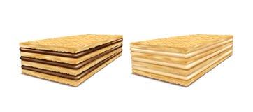 Ein Satz Vektorillustrationen von rechteckigen Knusperwaffeln mit Schokoladen- und Milchfüllung Lizenzfreie Stockbilder