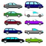 Ein Satz Vektorskizzen von zehn Retro- Autos, die während der sechziger Jahre freigegeben wurden lizenzfreie abbildung