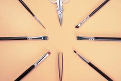 Ein Satz verschiedene Maskenbildnerbürsten, Pinzette und Scheren liegen in einem Kreis mit copyspace für Text auf rosa Farbe lizenzfreie stockfotografie