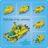 Ein Satz verschiedene Unterseeboote lizenzfreie abbildung