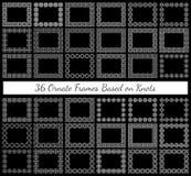 Ein Satz von 36 aufwändigen rechteckigen Rahmen basiert auf verschiedenen Knoten Stockfotos