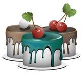 Ein Satz von drei kleinen Kuchen jeder kleine Kuchen ist ein eigener Artikel Lizenzfreies Stockfoto